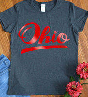 Ohio Shirts Script Red Home State Resident Made in Ohio for Women Ladies Tee Shirt Local Pride TShirt