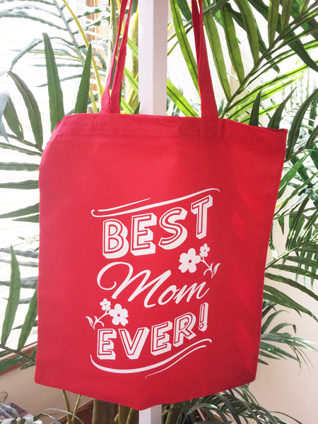 Mothers Day Gift Mom Tote Bag Best Mom Ever Cute Red Shoulder Canvas Cotton Shopping Market Tote Bag