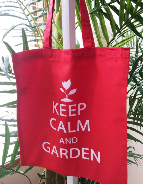 Keep Calm and Garden Cute Mothers Day Gift Gardening Tote Bag Red Shoulder Canvas Cotton Shopping Market Tote Bag