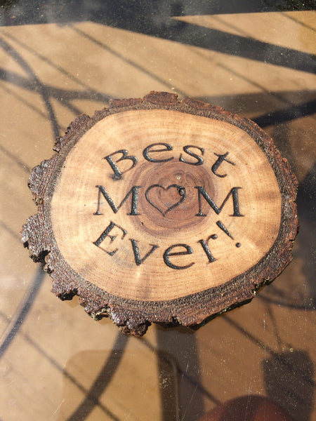 Wood Magnet Best Mom Ever Mothers Day Birthday Gift Idea Rustic Wood Walnut Live Edge Natural Laser Engraved Fridge Magnet