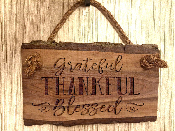 Wood Sign Grateful Thankful Blessed Wooden Sign Home Decor Rustic Farmhouse Inspirational Christian Wall Art