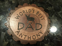 Custom Personalized Wood Drink Coaster Buck Deer World's Best Dad Gift