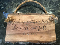 God is WITHIN her, she will not fall Psalm 46:5 sign | Scripture sign | live edge sign | Bible verse sign | Christian wood sign | Jesus sign