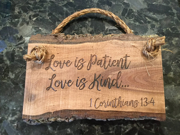 Bible Verse Wall Art Love Scripture Verse Wood Signs Sayings Wall Art Wooden Sign Home Decor Rustic Farmhouse Love is Patient Kind