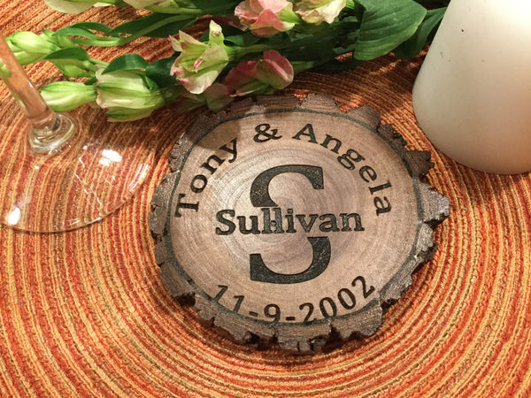4 personalized wood coasters, custom coaster, custom live edge coaster, custom log coaster, custom wedding coaster, custom wedding gift