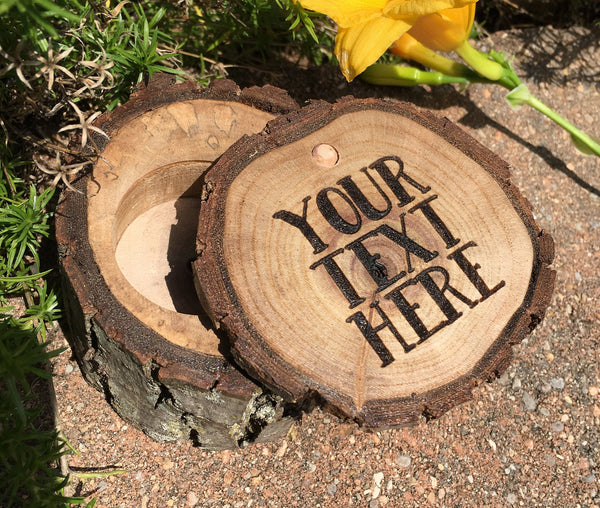 Wood Ring Box Custom Jewelry Box Personalized Rustic Wedding Engagement Ring Bearer Laser Engraved Wooden Gift Holder