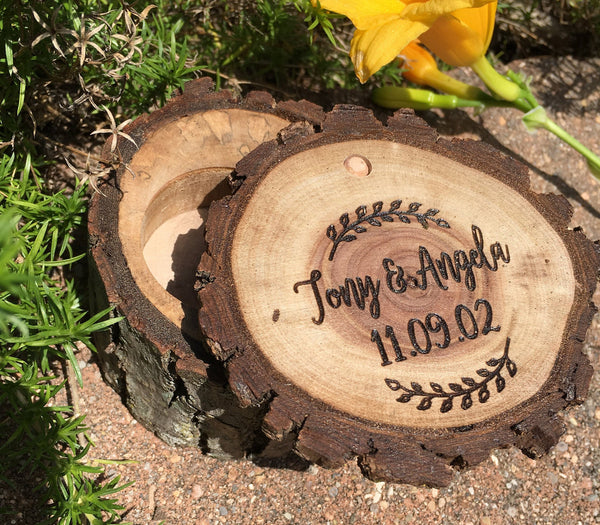 Wooden Box Custom Jewelry Ring Box Personalized Rustic Wedding Engagement Ring Bearer Laser Engraved Vintage Wooden Gift Holder