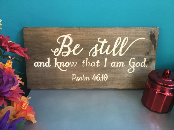 Be Still Wood Signs Bible Verse Wall Art Christian Scripture Rustic Wall Decor Country Vintage Decor Carved Engraved Plaque Wooden Wall Art