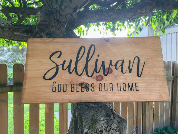 Family Name Wood Sign with Quote Saying Custom Personalized Rustic Country Barn Decor Last Name Pine Engraved Plaque Wall Art