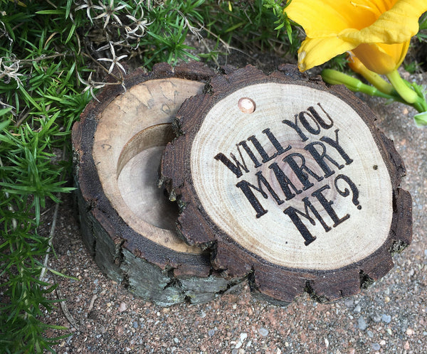 Proposal Ring Box, Will You Marry Me Engagement Ring Wood Rustic Country Wedding Gifts Holder Laser Engraved Wooden Sign Gift