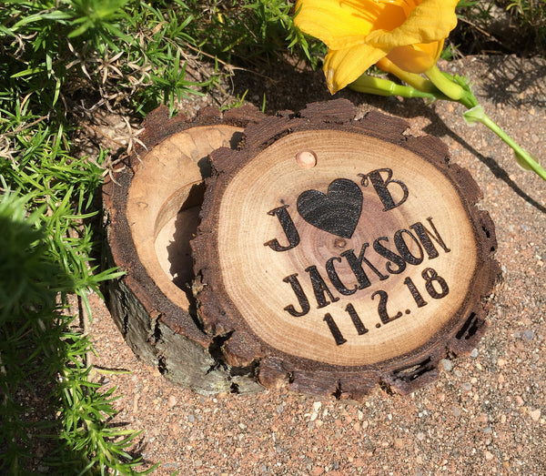 Wood Ring Box Heart Initials Custom Jewelry Box Personalized Vintage Country Wedding Engagement Ring Bearer Laser Engraved Wooden Gift