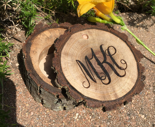 Monogrammed Wooden Box Bridesmaid Gift Monogram Wood Initials Jewelry Ring Box Custom Personalized Vintage Country Wedding Gift Idea