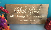 Bible Verse Wall Art Wood With God All Things are Possible Christian Scripture Signs Rustic Decor Vintage Engraved Plaque Wooden Wall Art