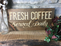 Coffee Sign Wood Signs for Kitchen Retro Fresh Coffee Served Daily Cute Saying Quote Wood Sign Wooden Home or Office Decor