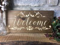 "Welcome Sign Wood Welcome Sign for Wall Carved 9""x19"" Script Wedding Covered Front Porch Large Wooden Sign"