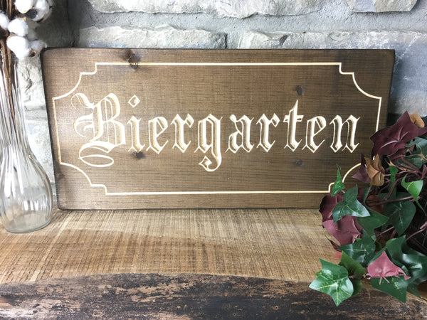 Biergarten Sign Wood Sign Vintage German Beer Oktoberfest Decoration Carved Wooden Home Decor Fall Octoberfest Germany Bar Man Cave Wall Art