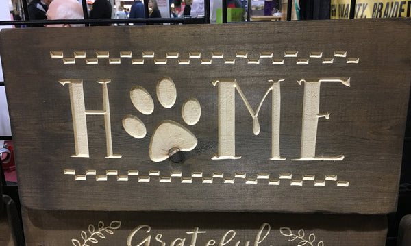 Wood Dog Sign Home Pawprint Wooden Wall Art Home Decor Dogs Saying Quote Carved Picture Sign