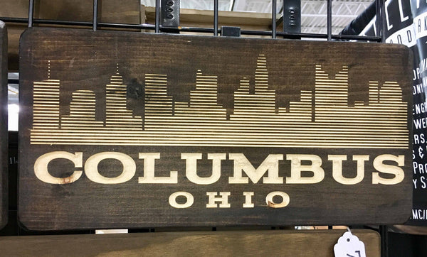 "Columbus Ohio Souvenir Gift Sign Skyline City Columbus Wood Sign for Wall Carved 9""x19"" Cbus Retro Columbus Vintage Style Wooden Sign"
