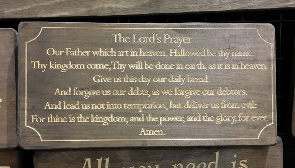 The Lords Prayer Sign Wood Wall Art Plaque Bible Verse Christian Wood Signs Scripture Home Decor Wood Engraved Wooden Wall Decor Signs