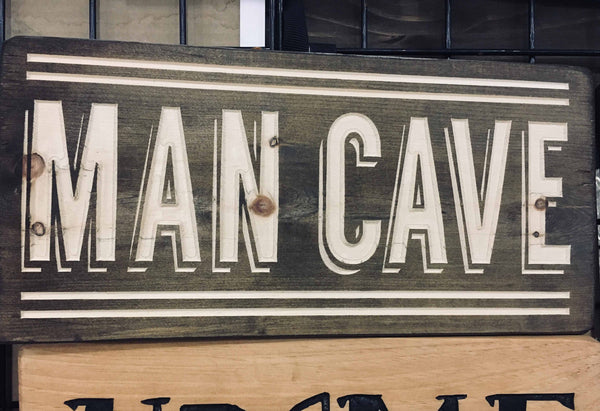 Man Cave Sign Wood Signs Mens Home Decor Guys Birthday Gift Wooden Engraved Carved Room Wall Art for Him