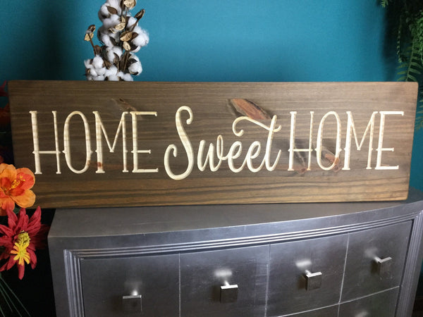 Large Home Sweet Home Wood Signs Sayings Personalized Signs Wood for Wedding Home Decor Wooden Farmhouse Quote Rustic Country Barn Engraved