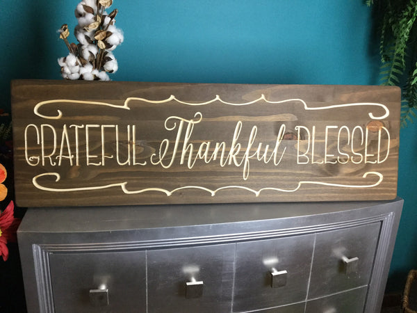 Large Grateful Thankful Blessed Wood Signs Sayings Personalized Signs Wood for Wedding Home Decor Wooden Farmhouse Quote Rustic Country Barn