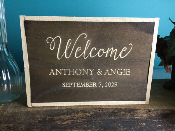 Welcome Box Sign for wedding table Signs Wooden Wall Decor Kids Room Decor Wood sign sets for wedding hashtags for wedding sign bride table