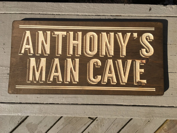 Personalized Man Cave Sign Custom Wood Signs Mens Home Decor Guys Birthday Gift Wooden Name Rustic Engraved Carved Room Wall Art for Him