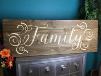 "Large ""Family"" Wood Signs Sayings Personalized Signs Wood for Wedding Home Decor Wooden Farmhouse Quote Rustic Country Barn Engraved Carved"