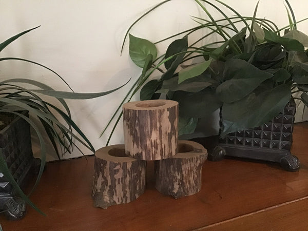 3 Rustic wood tree small candle holders.