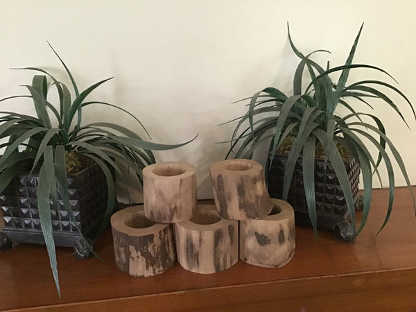 5 Rustic wood tree small candle holders.