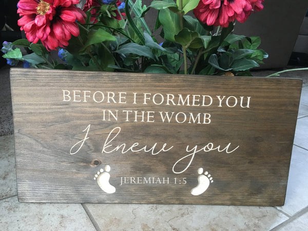 Nursery Sign Wood Bible Verse Sign Before I Formed You Jeremiah 1:5 Christian Wall Art Scripture Baby Boy Girl Room Decor Baby Shower Gift