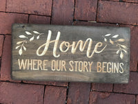 Home where our story begins Wood Sign Wall Decor Art