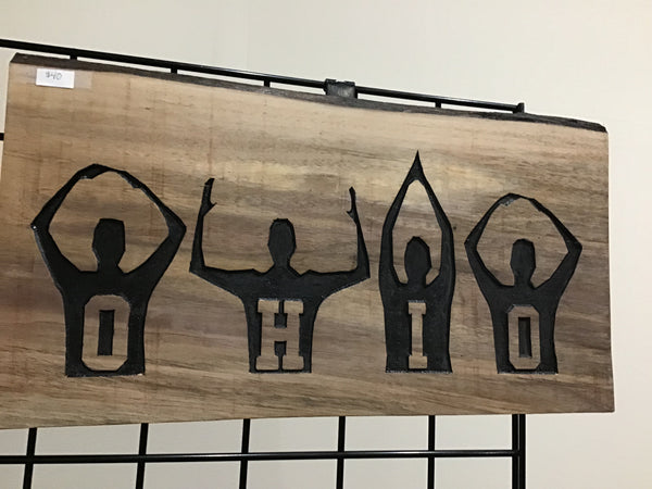 O-H-I-O Hand Signals Ohio State Fan Live Edge Natural Wood Wall Sign