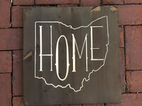 Square Wood Wall Sign Home inside the shape of ohio
