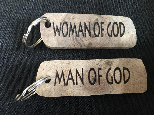 Christian Man/Woman of God Natural Reclaimed Walnut Wood Keychain