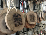 Natural Walnut Wood Slice Live Edge, Laser Engraved Christmas Ornaments