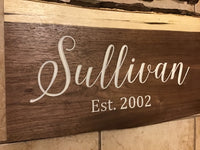 Custom family name with established date Decor Wall Art Live Edge Wood Sign Carved Walnut