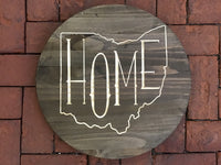 Round Wood Wall Sign Home Inside Ohio Shape