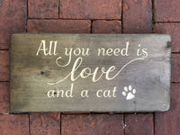 Love and a cat with a paw print Wood Sign Wall Decor Art