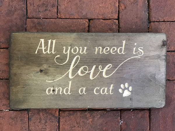 Copy of Love and a cat with a paw print Wood Sign Wall Decor Art