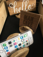 Rustic Natural Wood Sign Stand Cell Phone Tablet Stand Holder
