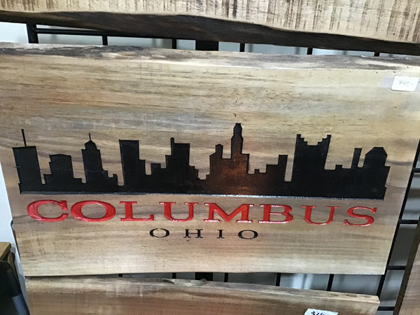 Columbus Ohio Decor Wall Art Souvenir Gift Live Edge Wood Sign Carved Wooden Sign painted City Skyline Walnut
