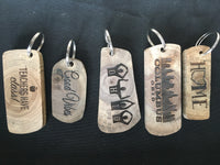 Natural Reclaimed Walnut Wood Keychains, Choose a Style