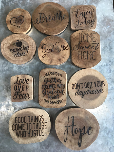 Rustic Natural Wood Fridge Magnet Choose Your Motivational Saying