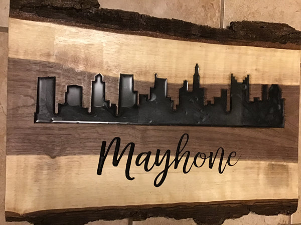 Custom Columbus Ohio Decor Wall Art Live Edge Wood Sign Carved Wooden Sign 2-Part Epoxy Resin Gloss River City Skyline Walnut