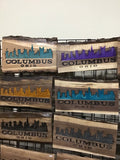 Columbus Ohio Decor Wall Art Souvenir Gift Live Edge Wood Sign Carved Wooden Sign 2-Part Epoxy Resin Gloss River City Skyline Walnut Gold