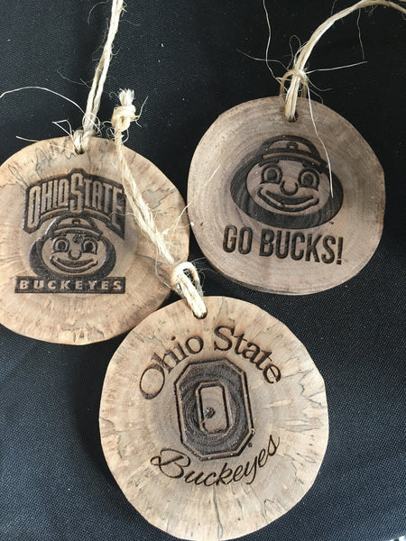 Ohio State Fan Brutus Buckeye Natural Walnut Wood Christmas Ornaments