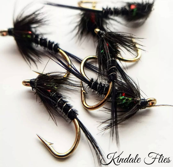 Red Holographic Black Buzzers Size 12 Fly Fishing Flies Set Of 3