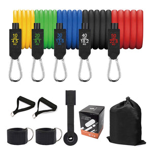 5 Tube Exercise Resistance Bands Set of 11 Pieces